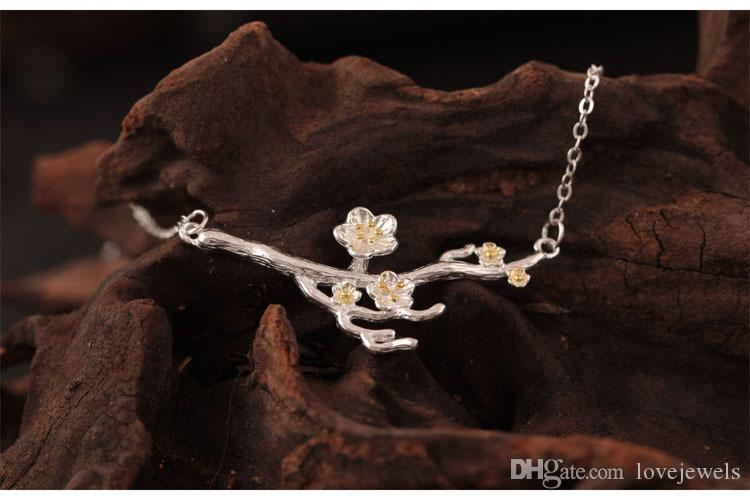 Fashion charm Clavicle chain 925 pure silver creative flowers accessories plum pendant necklace silver jewelry wholesale 18K Gold Plated