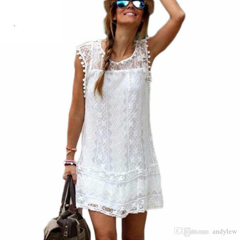 2a7ce702684c Acquista Abito Estivo 2018 Donna Casual Beach Short Dress Nappa Nero Bianco  Mini Abito Di Pizzo Abiti Da Festa Sexy Abiti A  8.24 Dal Andylew