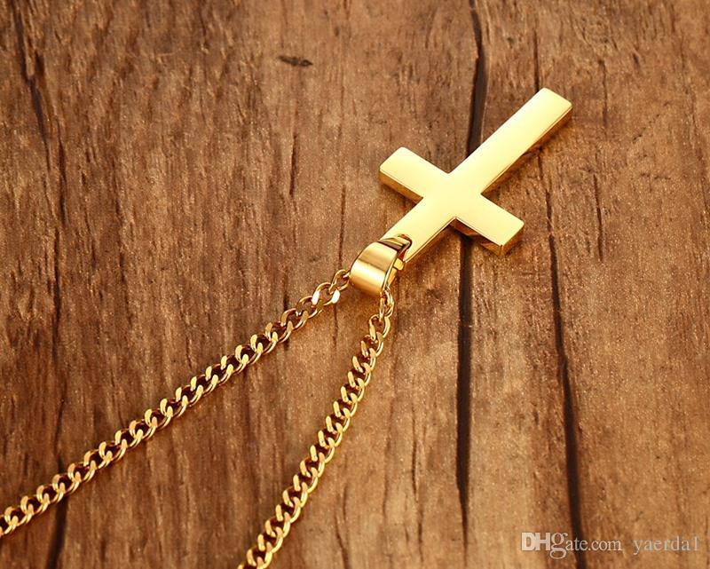 Religious jewelry 35MM stainless steel cross pendant Titanium steel men's necklace wholesale ladies accessories swarovski 925 kendra scott