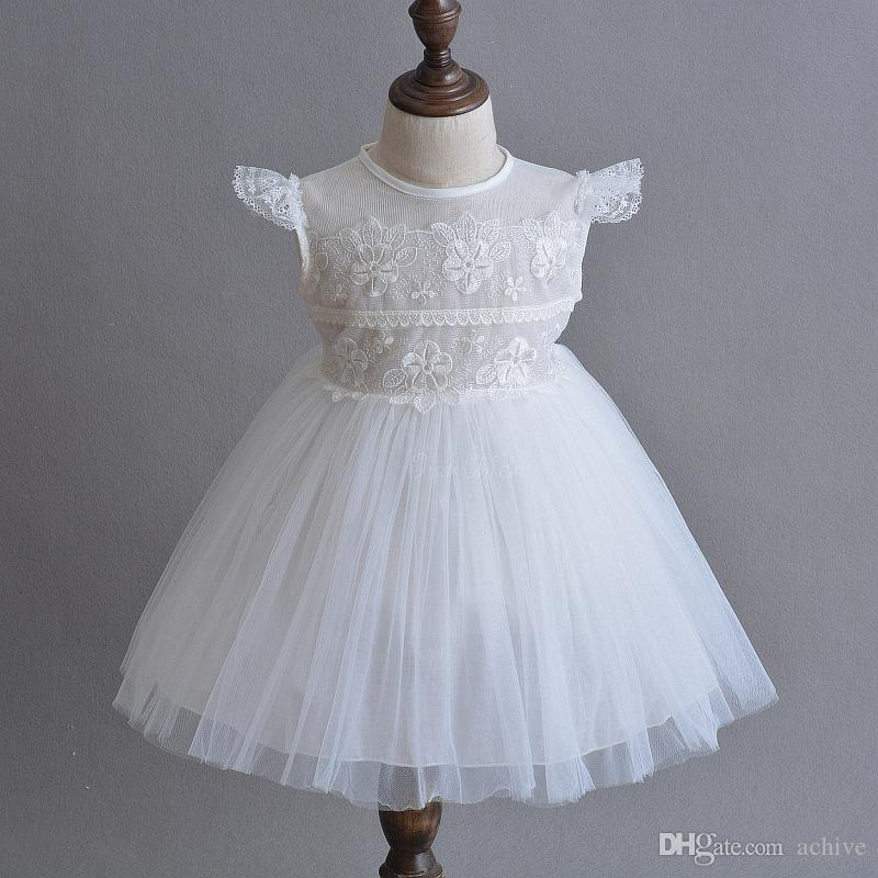 Promotional Lace Tulle First Communion Dresses Cheap 2018 Cap Sleeves White Ivory Baby Girl Dresses China USA UK Online Store