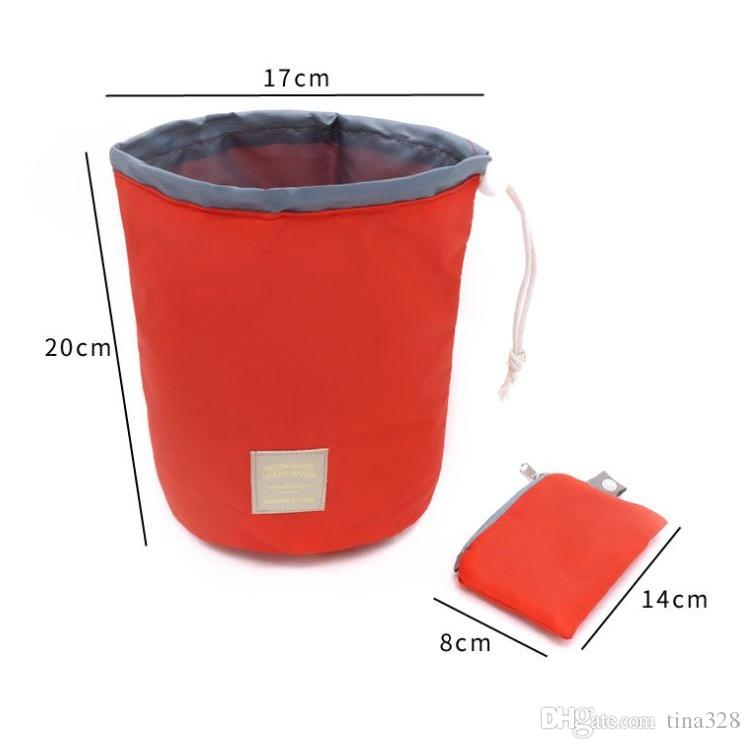 Coréia do sul cilindro De Viagem de grande capacidade à prova d 'água saco de maquiagem Saco de Lavagem de cinto Portátil Saco de Cosméticos Sacos de Armazenamento T4H0334