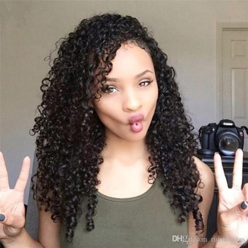 Top Quality Brazilian Natural Color Kinky Curly Front Lace Wig Pre Plucked Human Hair Wigs 150% Density Full Lace Wigs With Baby Hair