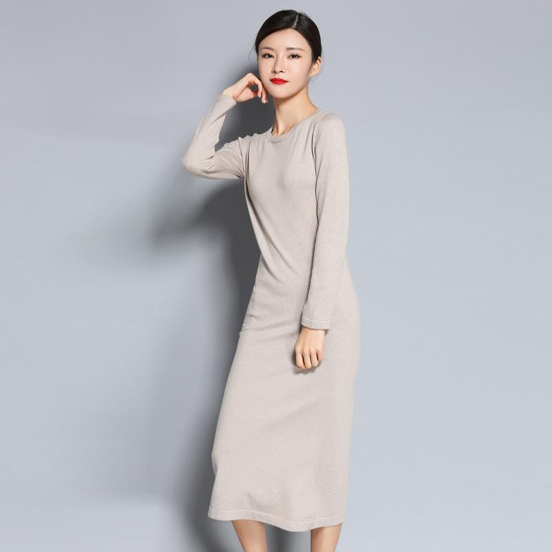 5f26869291f 2018 Lhzsyy2017 Autumn And Winter New Round Neck Cashmere Blended Sweater  Dress Knit Knee Wool Long Female Solid Color Pullover D18110604 From  Shen8403