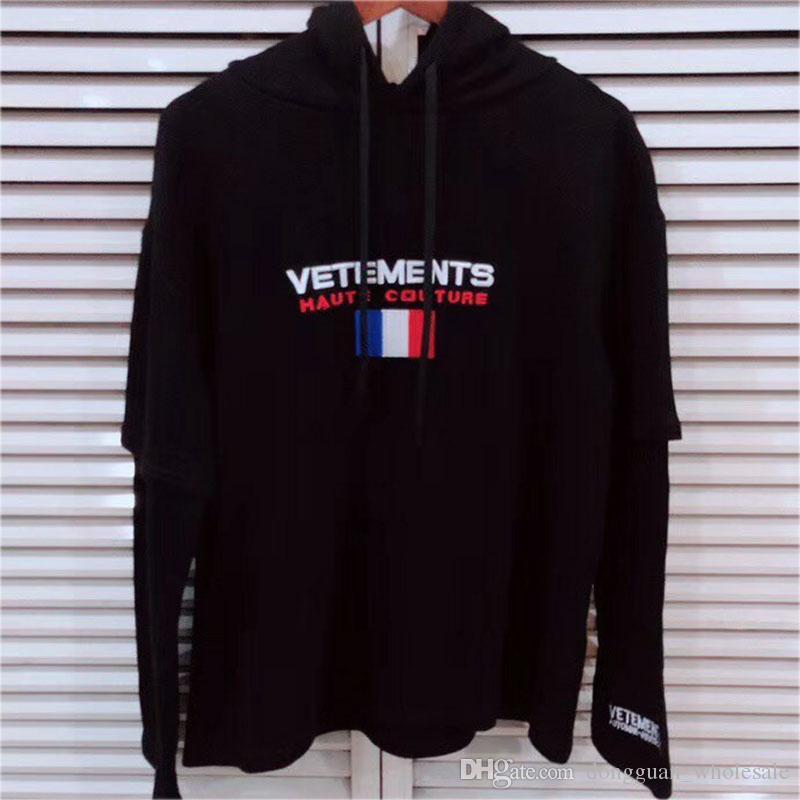 8ae6d7ef Vetements Hoodie Autumn Winter Fashion Casual Streetwear Vetements  Sweatshirts France Flag Embroider Vetements Hoodie Pullover