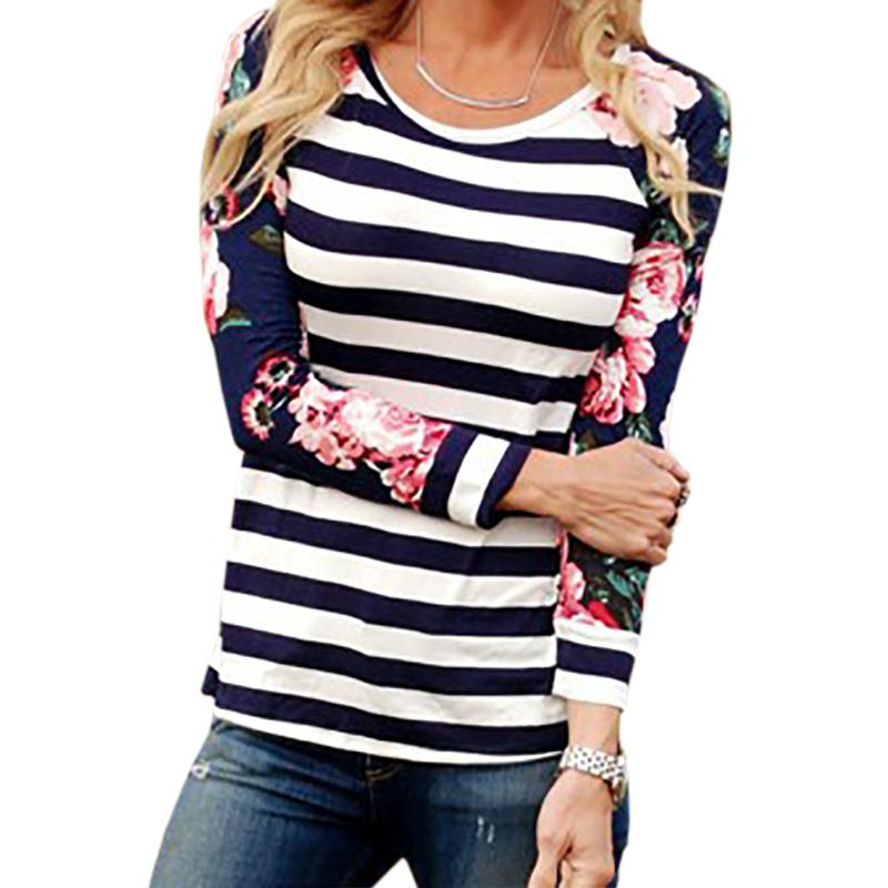f1d759ba7efc Striped Floral Printed Women T Shirts Female Autumn Casual Tops Tees ...