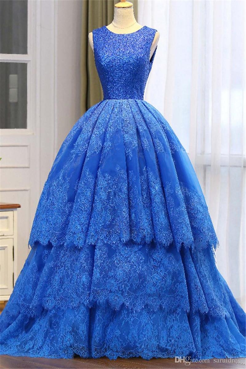 Großhandel Royalblau Spitze Prinzessin Lange Abendkleid Lange Pailletten  Anlass Kleider Layered Rock Ballkleider Abendkleid Abendkleid Von  Saruidress,