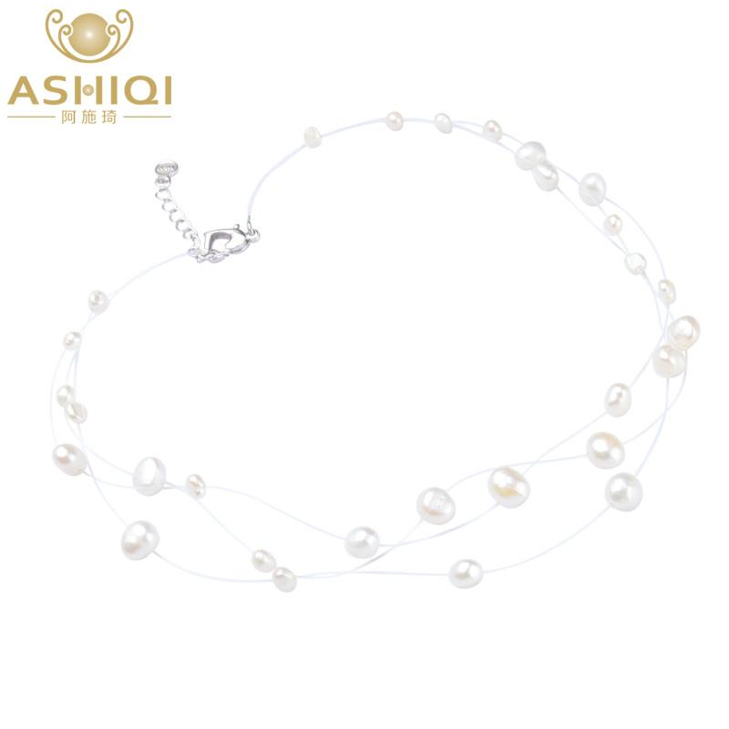 0a595685c6af9 ASHIQI Natural Baroque Pearl Necklace Triple Strand Choker Necklace for  Woman Dress Simple Style Floating Handmade collar chain