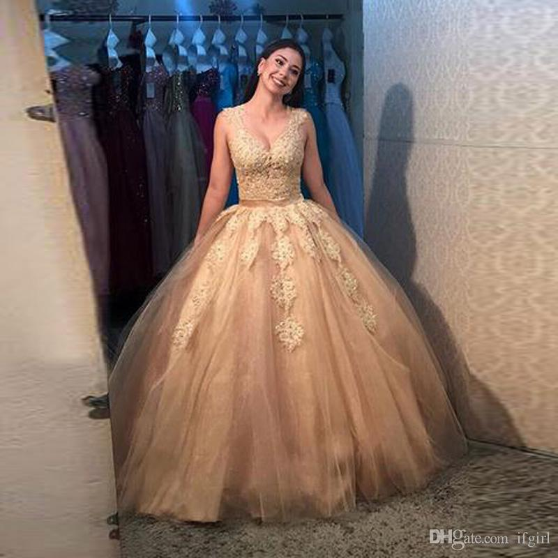 Gold Sleeveless Ball Gown Quinceanera Dresses 2018 V Neck See Through Back  Appliques Lace Long Prom Sweet 16 Dresses Vestidos De Quinceañera  Quincenera ... 52880960e681