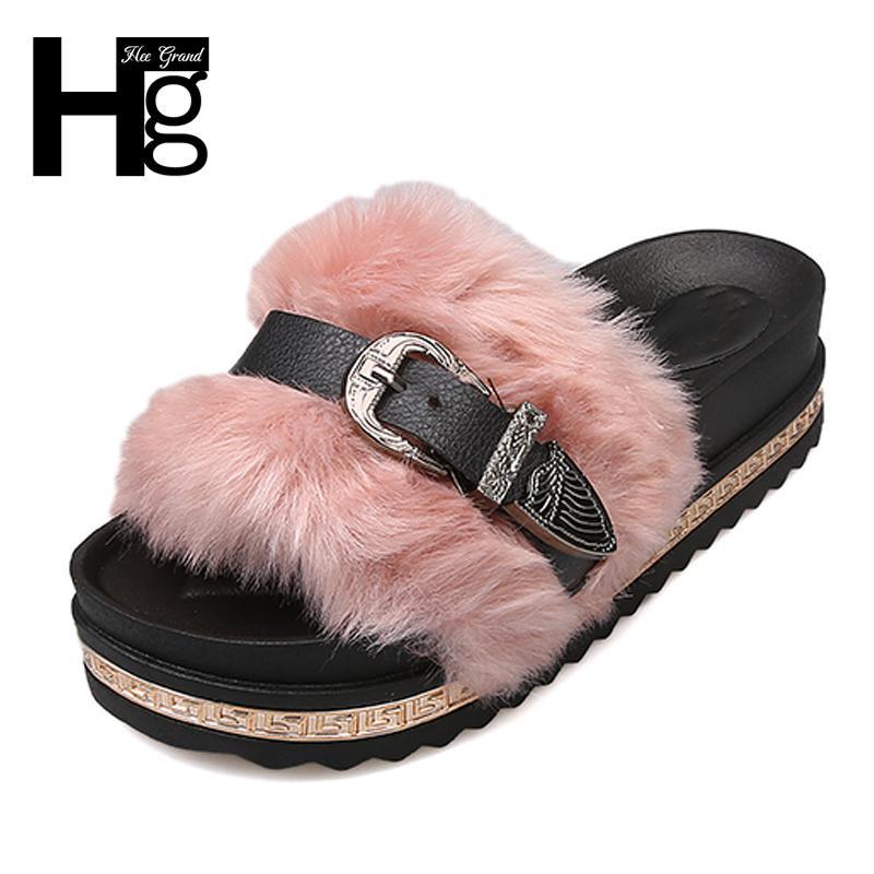 254dc320 Compre HEE GRAND Faux Fur Slides Mujeres Zapatillas De Verano Zapatos De Plataforma  Casual Mujer Slip On Beach Shoes Creepers Tamaño 35 39 XWT1377 A $29.54 ...