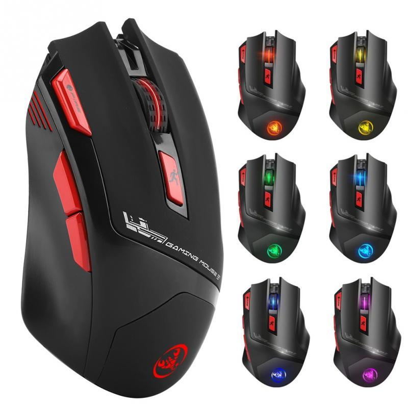 HXSJ T88 Wireless Gaming Mouse 7-Key Ergonomic Design Support Macro  Programming 7 Color Illumination Rechargeable up to 4800dpi