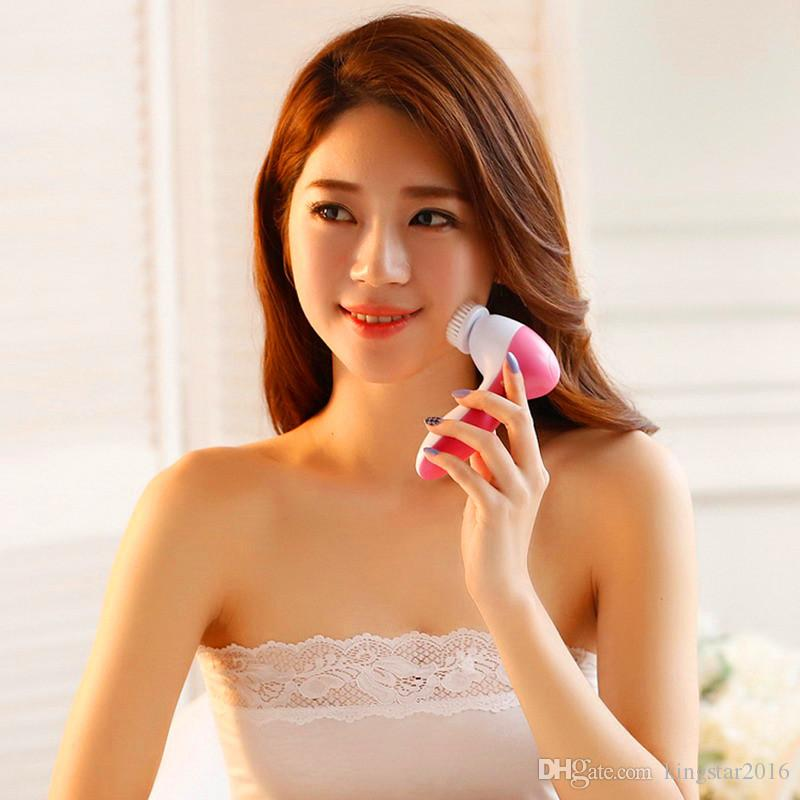 Hot Selling 5 IN 1 Face Cleansing Brush Electric Face Cleaner Wash Machine Spa Skin Care Massager Cleaning Facial Cleanser Tools