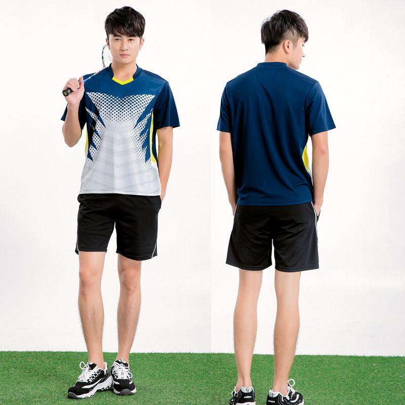 07ceea743822 Badminton Training Suit Men Sportswear Shuttlecock Shirt Quick ...