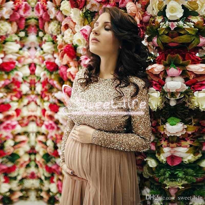 2019 новый дизайн с длинным рукавом платья выпускного вечера для беременных блесток блестящий длиной до колен короткое вечернее платье дешевые платья для беременных формальные