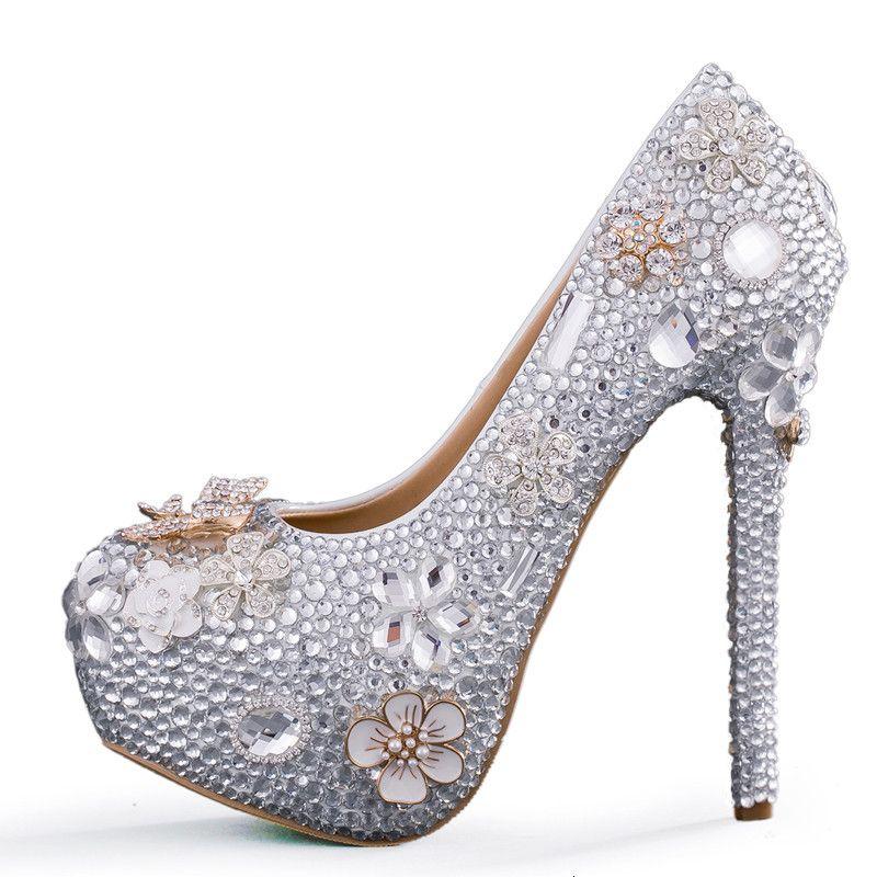 ae3b04d17c New handmade fashion Round toe shoes for women beautifu rhinestone high  heel wedding shoes silver crystal super party heels bride Shoes