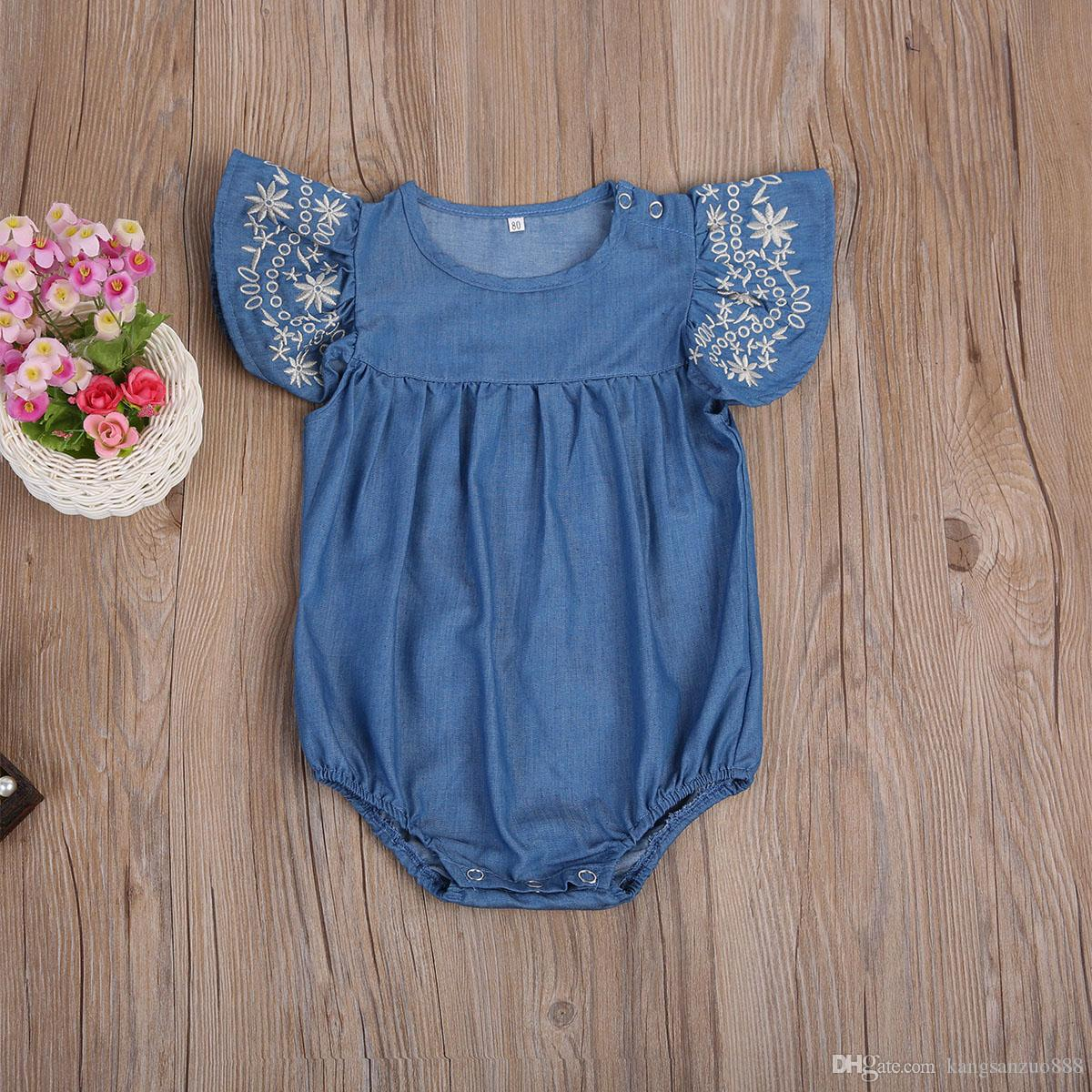 256539d72 2019 Summer Denim Romper 2018 Newborn Baby Girl Romper Ruffled Sleeve  Jumpsuit Playsuit Outfits Sunsuit Clothes Set From Kangsanzuo888, $8.83 |  DHgate.Com