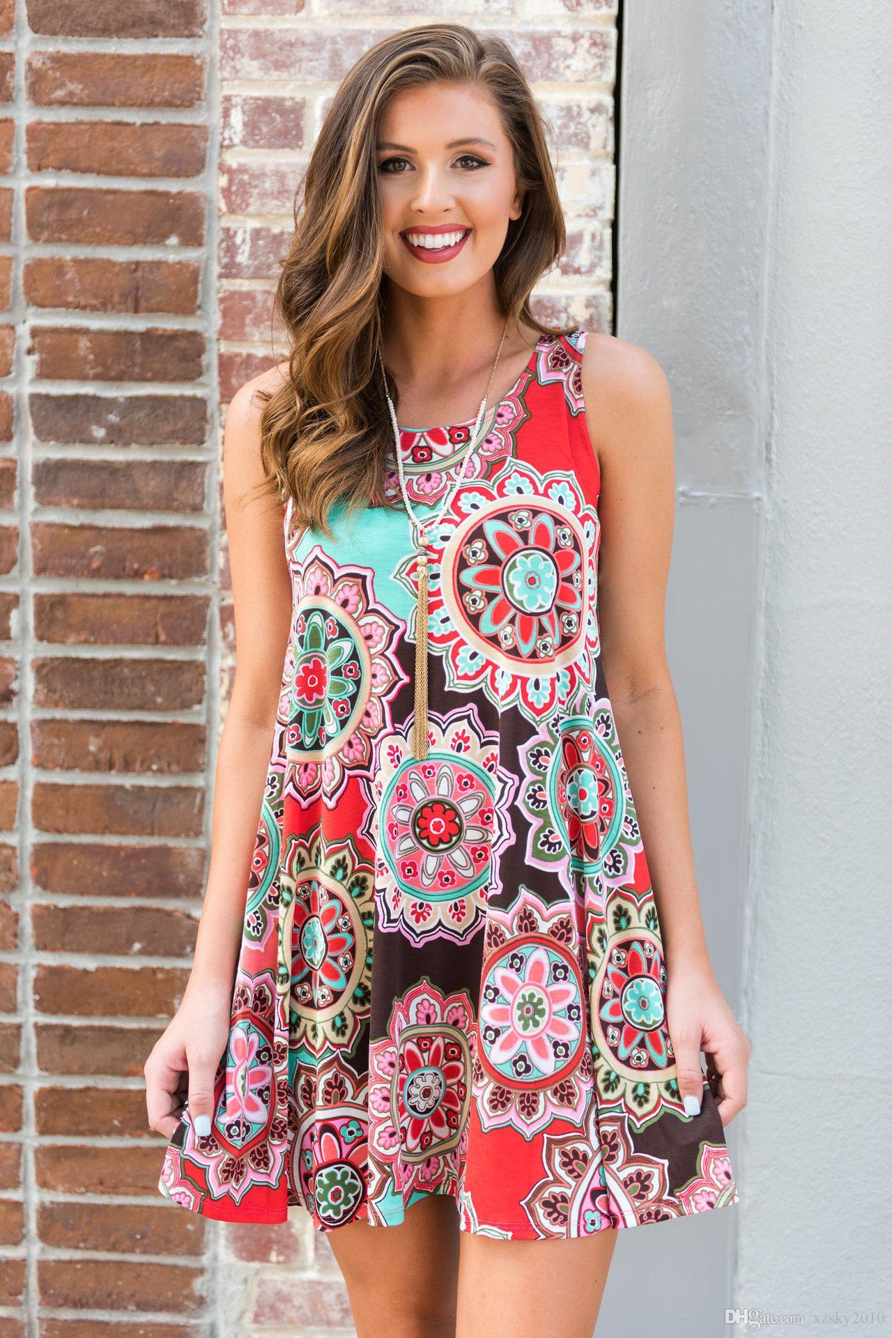 Vestido sin mangas con estampado floral, estampado floral, vestido boho Vestido de fiesta Vestido largo de fiesta Vestido largo de verano Vestido informal Vestidos casuales
