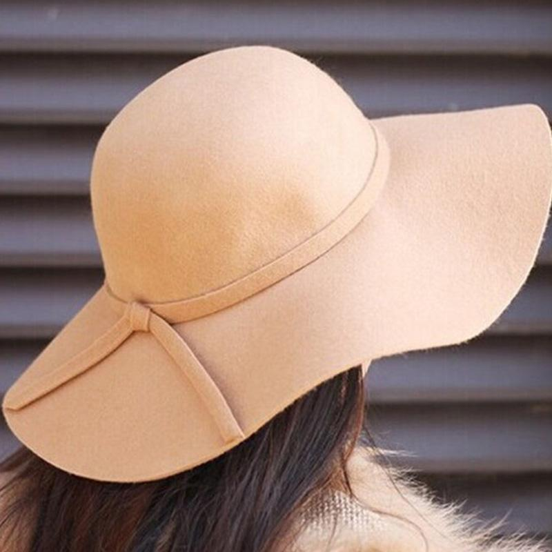 a32303b733961 New Hot Fashion Women Lady With Wide Brim Wool Felt Bowler Fedora Hat  Floppy Cloche Sun Beach Bowknot Cap Trilby Stetson Hats From Naixing