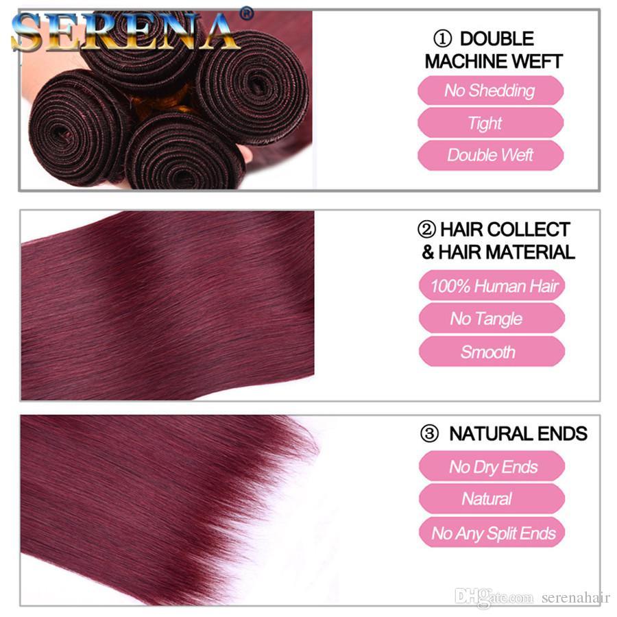 Бразильские Бургундские девственные волосы с кружевной фронтальной застежкой с 3 пучками цвет 99J красное вино прямые волосы ткет с 13x4 кружева фронтальной