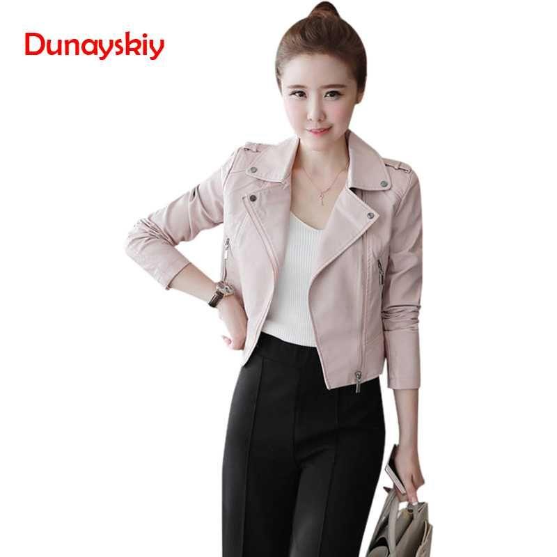 aaaec0fe8 Dunayskiy Autumn Winter Women Leather Jackets Soft Pu Leather Coats Short  Slim Streetwear Fashion Korean Style Female Outerwears