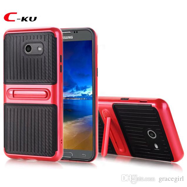 Stand Carbon Fiber Hybrid TPU + PC Case For Samsung Galaxy 2017(J3 J5 J7 ) US Version Fashion Hard Phone Dual Color Skin Cover 10pcs