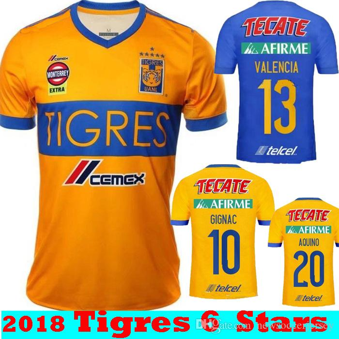 New 6 Stars 2017 2018 Tigres UANL Home Yellow GIGNAC GUERRON Soccer Jerseys  17 18 Camisetas Mexico Away Blue Football Shirts Size S XXL UK 2019 From ... c6f0c6242468