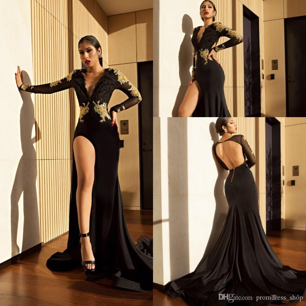 220f80d533 Sexy Black High Slit Prom Dresses 2019 Gold Lace Appliques Mermaid Sheer  Long Sleeves Deep V Neck Open Back Evening Gowns Cheap Prom Dress Cheap Prom  ...
