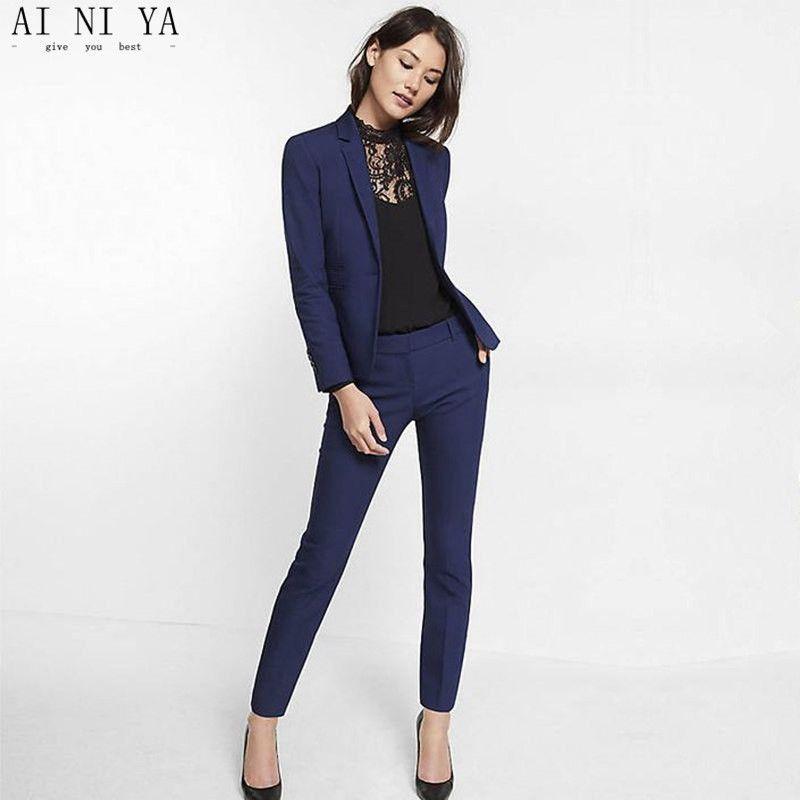 Un Las Marino Para Conjuntos De Azul Slim Solapa Fit Traje Formal Mujeres Chal Trajes Botón Esmoquin Negocios Mujer lJc1TK3F
