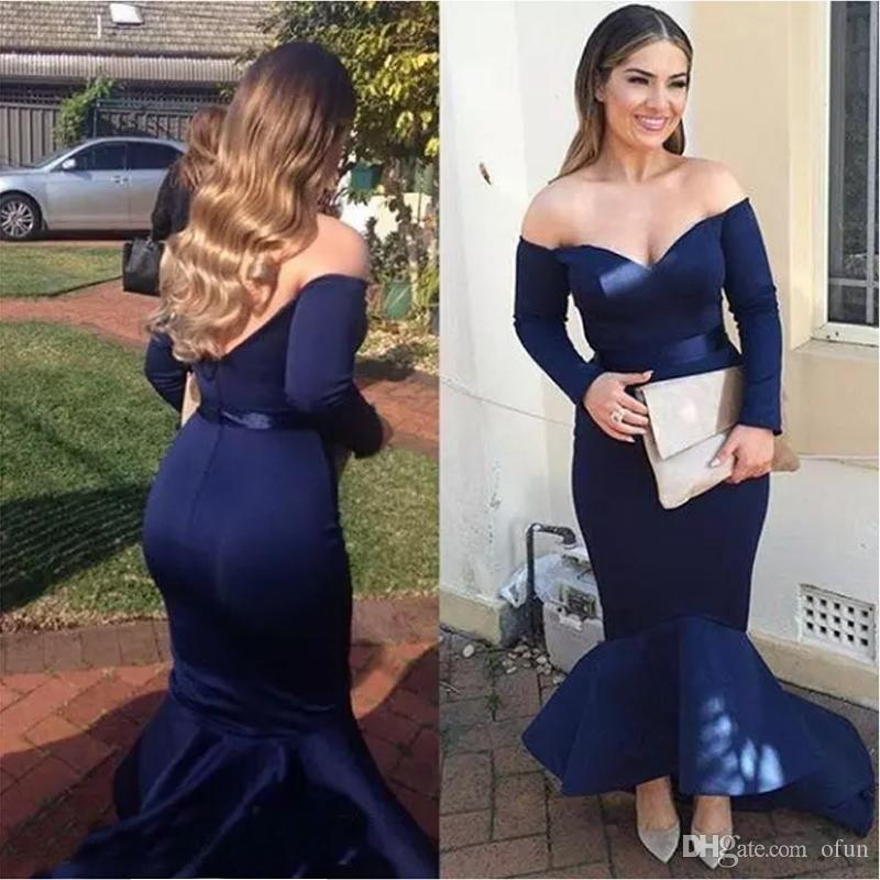 7164caa3715e 2019 New Navy Blue Sexy Mermaid Prom Dresses Backless Off Shoulders Long  Sleeves High Low Prom Gowns Plus Size Cheap Prom Dresses Uk Cheap Prom  Dresses ...