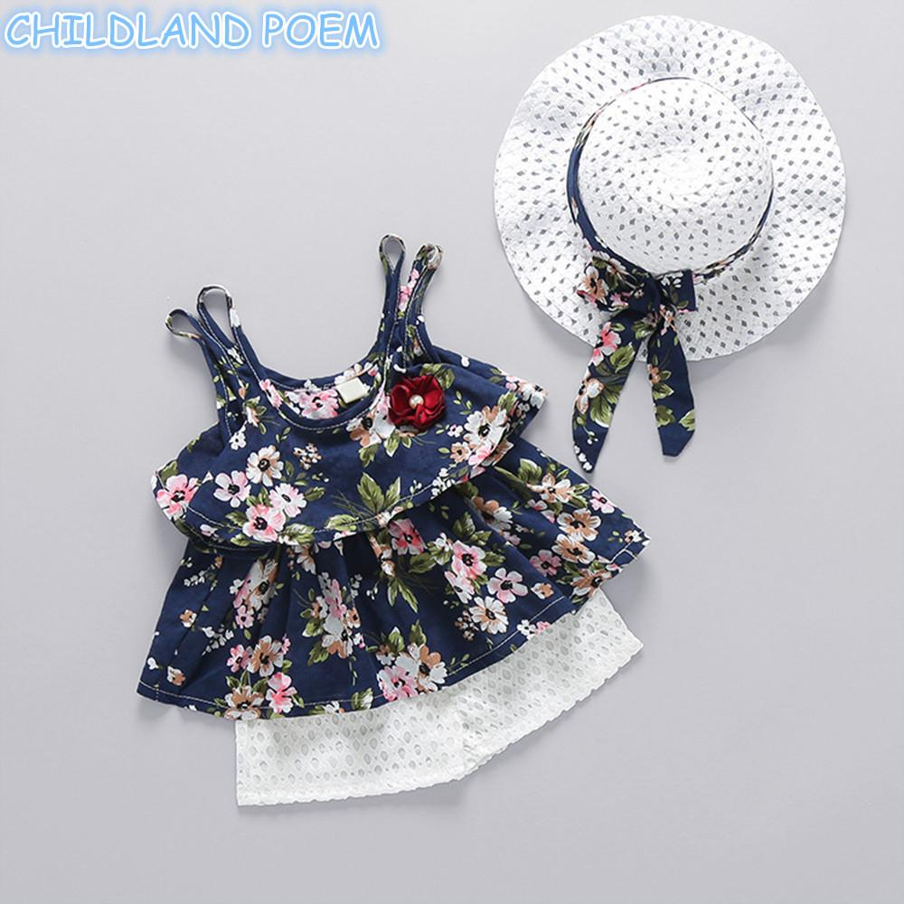 75d9fd4b4 2019 Baby Girl Clothes 2018 Summer Floral Newborn Baby Clothes Sets ...