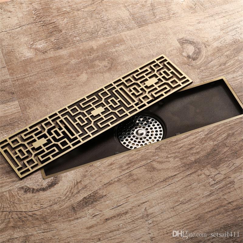 Acheter 30cm Antique En Laiton Salle De Bains Linear Douche Plancher Drain Fil Courbe Art Sculpte Couvercle Draineur Classique Design