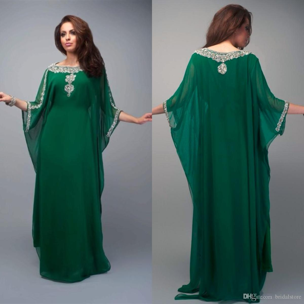 7216b4cb549 Vintage Green Dubai Saudi Arabia Evening Dresses Elegant Beaded Jewel  Chiffon Floor Length Plus Size Prom Gowns With Sleeve Unique Party Womens  Evening Wear ...