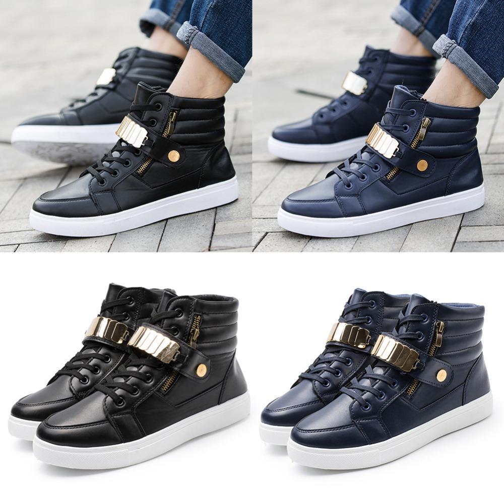 99f2ce5967155 Compre Zapatos De Los Hombres Zapatos De Baile De Calle De Las Zapatillas  De Deporte De Las Zapatillas De Baile De Hip Hop De Cuero Superior Informal  ...
