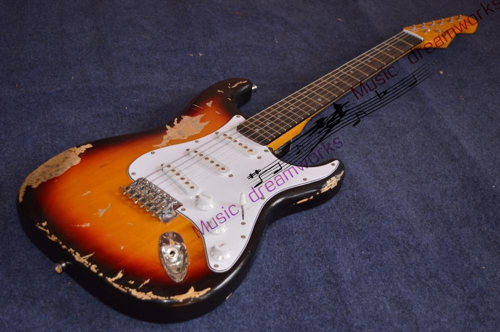 China firehawk electric guitar ST FD Old sun color handmade remains old  guitar Free shipping