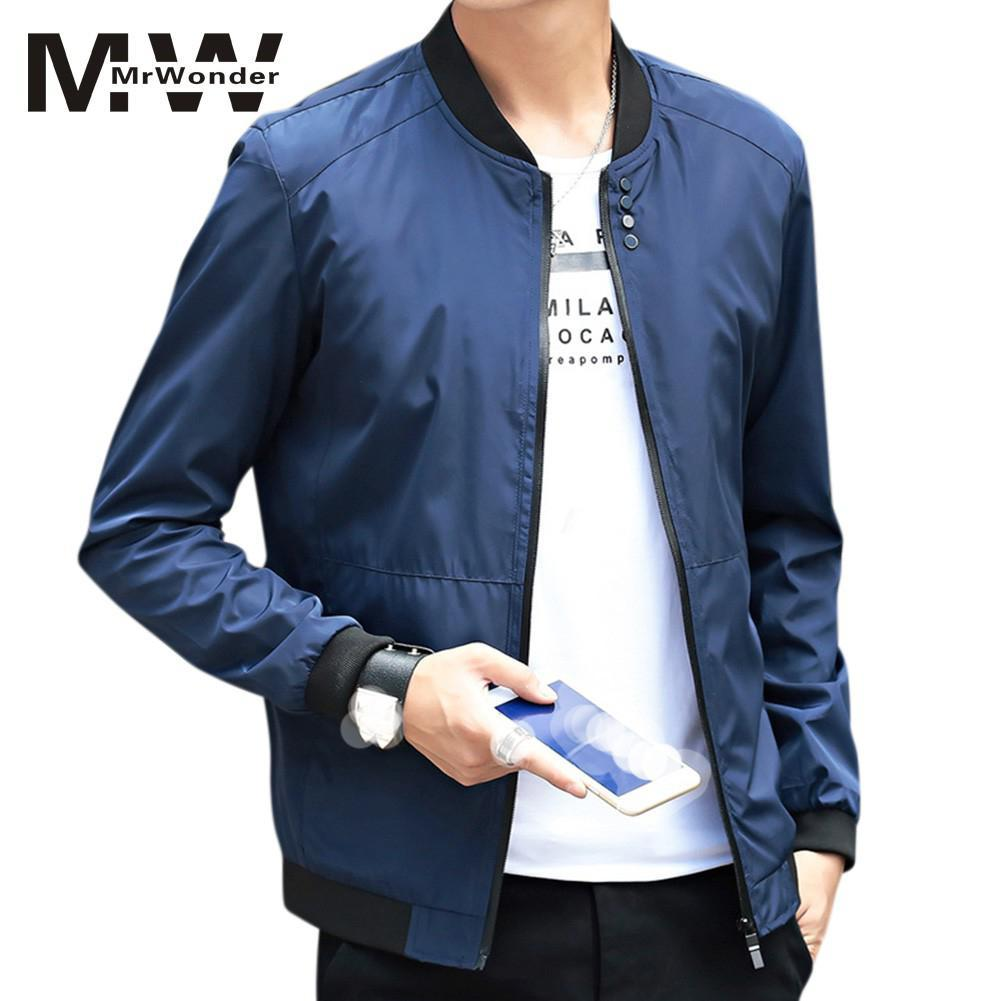bb023e696 2018 Autumn New Jackets Men Simple Casual Baseball Jacket Plus Size ...