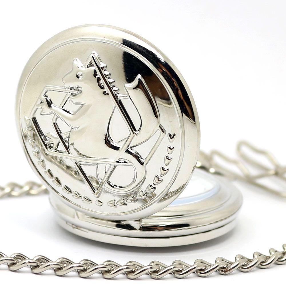 Schwarz Silber Fullmetal Alchemist Quarz Taschenuhr Halskette Leder Kette Box Tasche Relogio De Bolso Schmuck Sets Geschenke