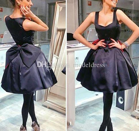 2018 Little Black Party Dresses Spaghetti Ball Gown Big Bow Puffy Satin Short Mini Evening Prom Cocktail Gowns Cheap Custom Made