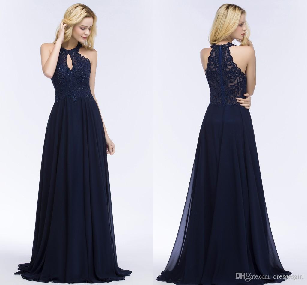 a5b079b1c Compre 2018 Vestidos De La Marina De Guerra Oscura Elegante Azul Vestidos  De Noche Apliques De Encaje Gasa Con Cuentas Una Línea Vestidos De Fiesta De  ...
