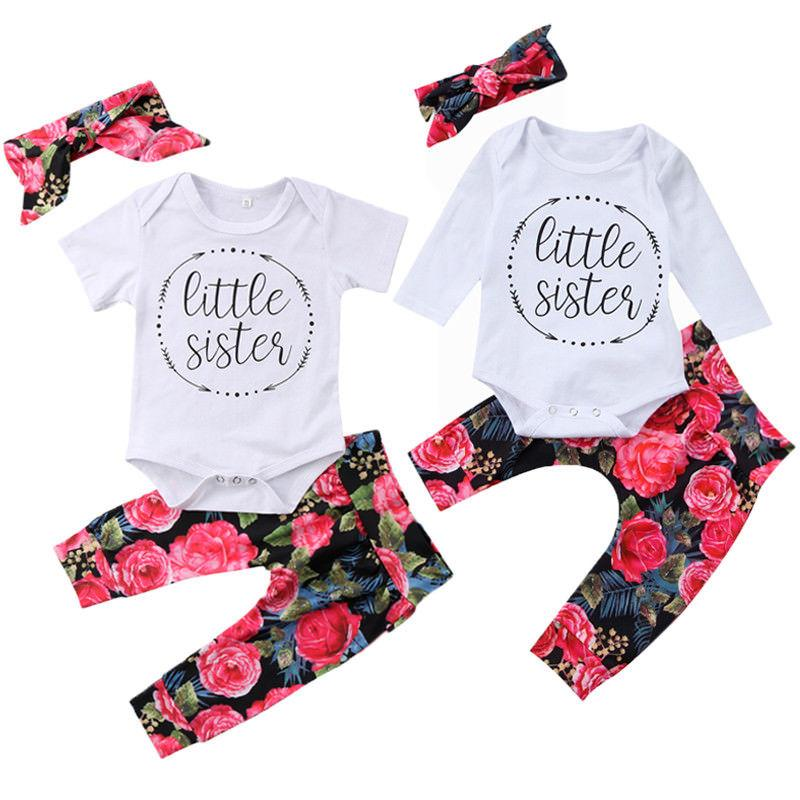 f1e6c796 3PCS Little Sister Newborn Baby Girl Clothes Short Sleeve Cotton Romper  Tops+Floral Pant Headband Outfits Baby Clothing Set