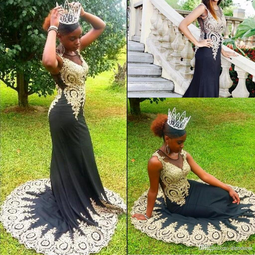 Hot Sale Black Jewel Neck Evening Dresses Long Train Gold Appliques Floral Jewel Garden Summer Chiffon Designer Latest miss prom Gown Party
