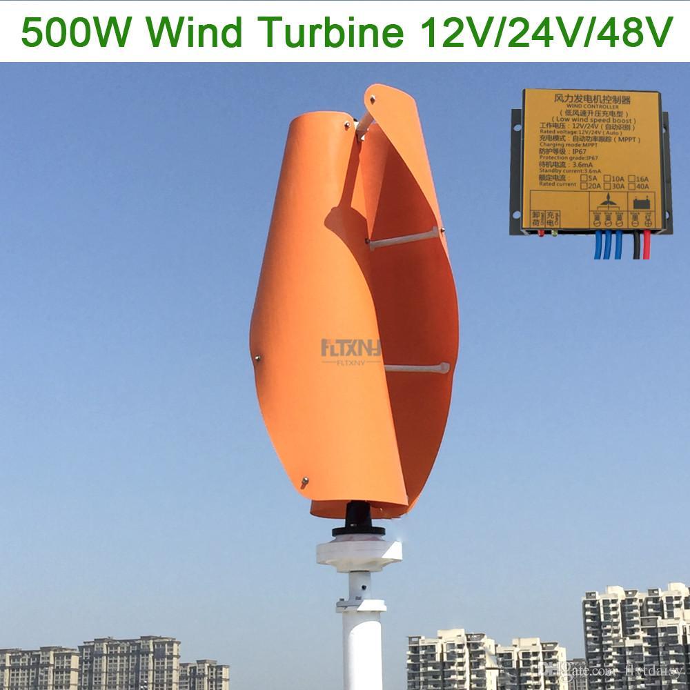Maglev wind turbine 500w 12v 24v 48v vertical axis wind generator with 12v  24v AUTO MPPT controller for home use