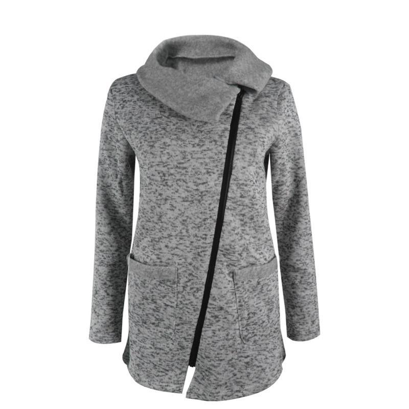 Herbst Winter Frauen Jacke Einfarbig Langarm Mantel Diagonal Reißverschluss Turndown Kragen Dame Casual Outwear Plus Größe H9