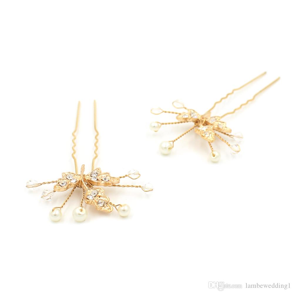 2018 New Arrival Delicate Wedding Hair Pins Gold Leaves With Crystal Pearl Bridal Headpieces Rhinestone Hairpins Bridal Accessories
