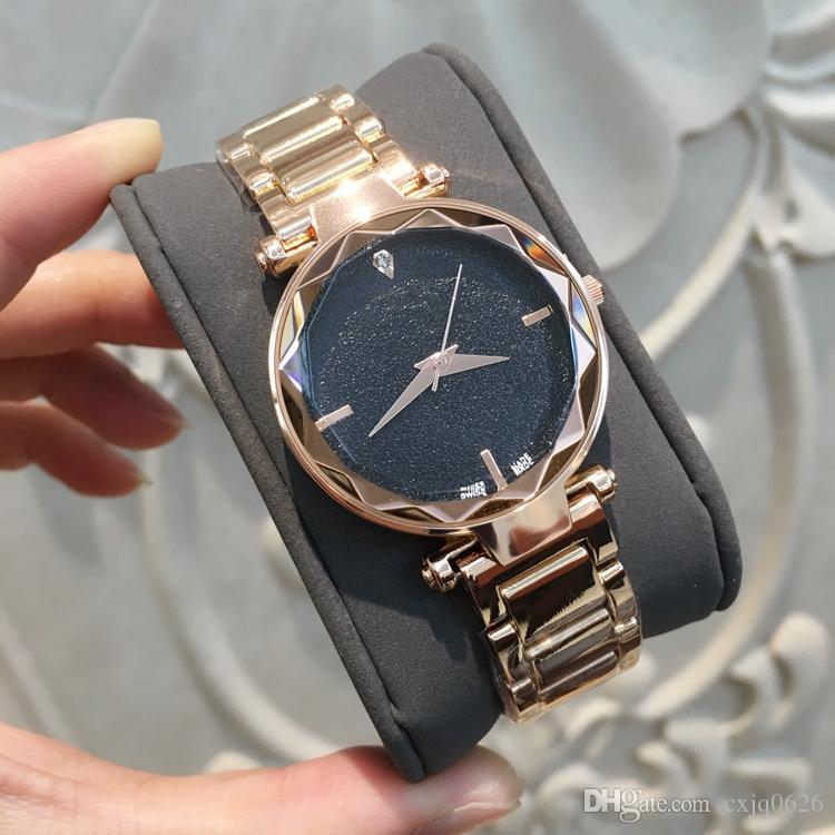 Drop shipping Gül Altın Ünlü Kadınlar İzle Japonya Hareketi paslanmaz Çelik Sıcak Satış Lüks Lady Kol Saati Kuvars Saat parlaklık siyah Dial