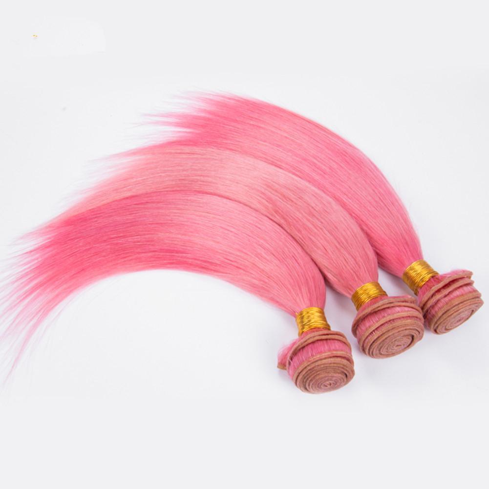 Mechones de cabello nuevo rosa humano de la Virgen de encaje frontal con 13x4 puro color rosa sedoso pelo de la trama de extensión con frontal de cierre de encaje
