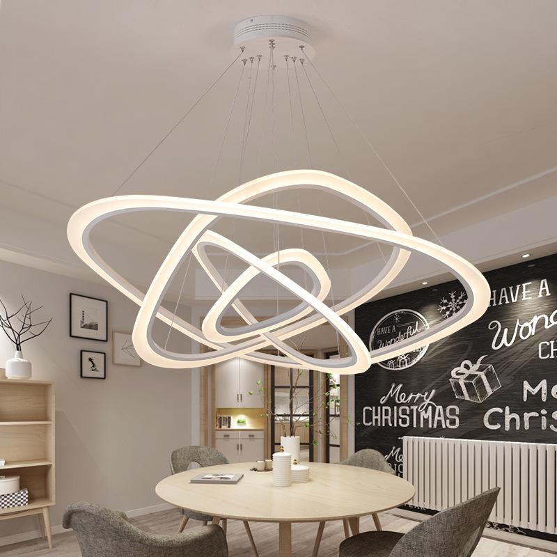 Modern Pendant Lights For Living Room Dining Room 2/3/4 Circle Wave Rings  Acrylic Aluminum Body LED Pendant Lamp Fixtures Contemporary Chandeliers ...