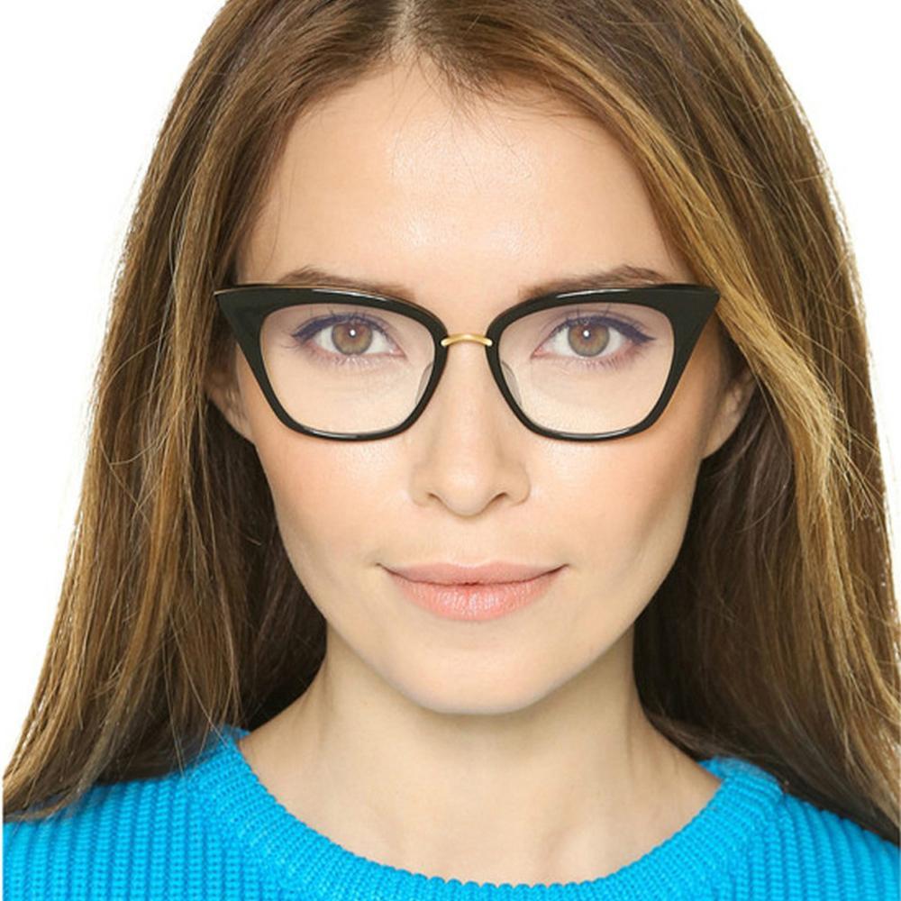 Compre Olho De Gato Óculos De Armação Para As Mulheres Moda Óculos Ópticos  Para A Menina Óculos De Sol Para A Senhora Na Moda E Peso Leve Óculos Óculos  De ... 2a0a1ca11e