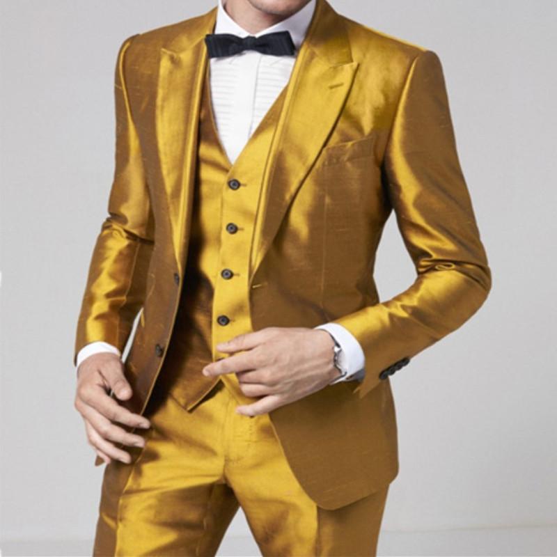Acquista Vestito Da Uomo Elegante Di Design Oro Vestito Formale Da Uomo  Aderente Con Cappuccio Elegante Giacca Da Uomo 3 Pezzi A  171.75 Dal  Cactuse ... 20cc28a05fa1