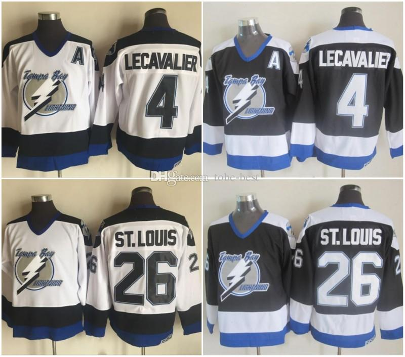 0a76b6b66 2019 Men S Tampa Bay Lightning Ice Hockey 26 Martin St. Louis 4 Vincent  Lecavalier Jerseys Black White Alternate Vintage CCM Stitched Uniforms From  Tobe ...