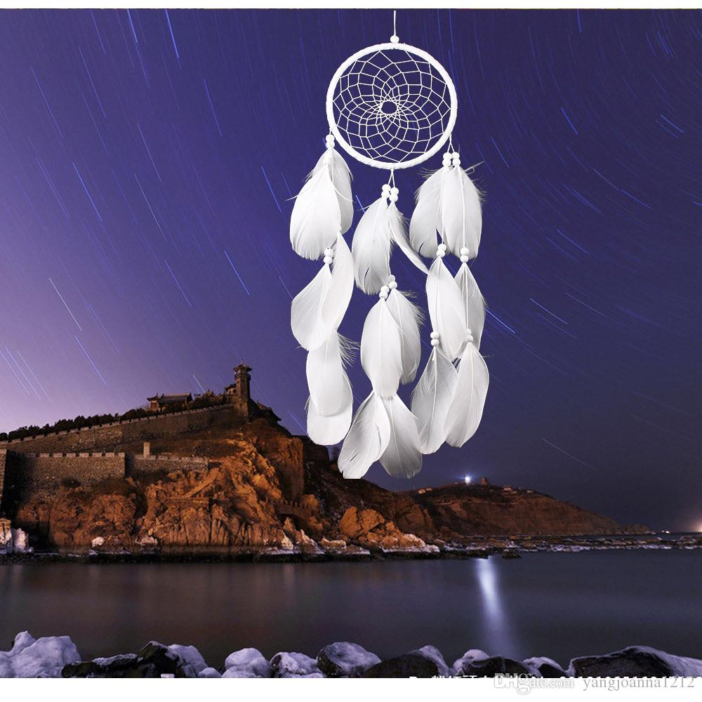 Wholesale White Dream Catcher Net Wedding Room Wall Hanging Decoration Dreamcather Ornaments Craft 13cm/5.1 inch