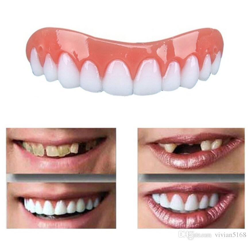Silicone Perfect Instant Smile Comfort Fit Flex Teeth Whitening Denture  Paste False Teeth veneers Upper Cosmetic Fake Tooth Cover Tool